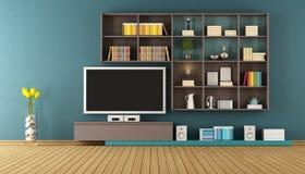 Blå vardagsrum med väggenheten - tolkning 3D Arkivfoto