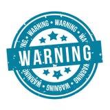 Blå varnande stämpel Emblem f?r vektor Eps10 royaltyfri illustrationer