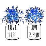 Blå vas för älskvärd vattenfärgblomma vektor illustrationer