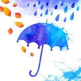 Blå vattenfärg målat paraply under regnet Arkivfoto