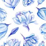 Blå vattenfärg Tulip Pattern stock illustrationer