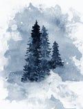 Blå vattenfärgbakgrund med skogträd i dimma vektor illustrationer