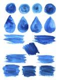 Blå vattenfärgklick befläcker formvektorsymboler royaltyfri illustrationer
