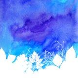 Blå vattenfärgvårbakgrund med vit Arkivbild