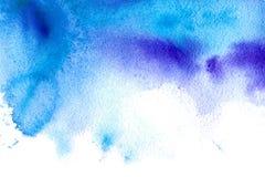 Blå vattnig illustration Abstrakt dragen bild för vattenfärg hand Arkivfoton