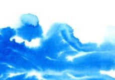 Blå vattnig illustration Färgpulverteckning Royaltyfri Bild