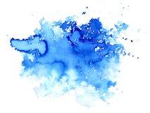 Blå vattnig illustration Färgpulverteckning Abstrakt dragen bild för vattenfärg hand Royaltyfria Bilder
