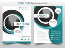 Blå vektor för mall för design för reklamblad för cirkelbroschyrårsrapport, bakgrund för lägenhet för abstrakt begrepp för brosch vektor illustrationer