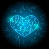 Blå vektor för strömkretshjärtabakgrund royaltyfri illustrationer