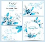 Blå vektor för uppsättning för kort för blomning för liljavattenfärgblomma Tappninghälsningaffisch, bröllopinbjudan, tacka dig vy royaltyfri illustrationer