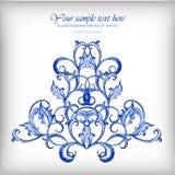 Blå vektorbakgrund för vattenfärg Gzhel detaljer Royaltyfria Bilder