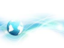 Blå vektorbakgrund med jordklotet Arkivbild