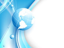 Blå vektorbakgrund med jordklotet. Eps10 Arkivfoton