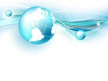 Blå vektorbakgrund med jordklotet. Eps10 Royaltyfri Foto