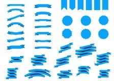 Blå vektorbanduppsättning i plan stil vektor illustrationer