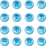 Blå vektoruppsättning av knappar för rengöringsduk Fotografering för Bildbyråer