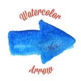 Blå vektorvattenfärgpil Arkivbild