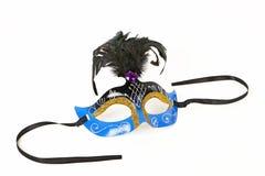 Blå Venetian maskering med fjädern Royaltyfri Fotografi