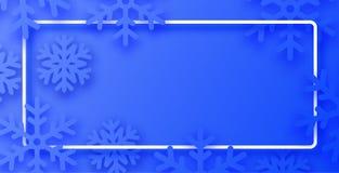 Blå vinteraffisch med den vita ramen och snöflingor royaltyfri illustrationer