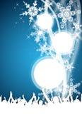 Blå vinterdeltagarereklamblad Royaltyfria Foton