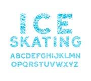 blå vinterstilsort alfabet med kors-kläckte bokstäver som spår av skridskor på isen stock illustrationer