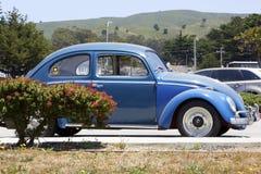 Blå Volkswagen Beetle sidosikt utskjutande gammal vw Klassisk tysk bil Fotografering för Bildbyråer