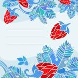 Blå vykort med blom- garnering Royaltyfri Bild