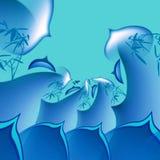 blå wave för abstraktionbakgrund stock illustrationer