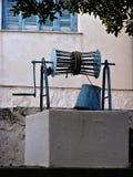 blå white Arkivfoto