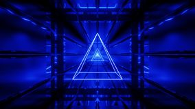 Blå wireframe med tunnelbakgrundstapeten 3d framför vjloop vektor illustrationer