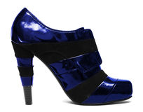 Blå womanish sko Arkivbild