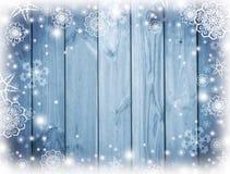 Blå wood bakgrund med snö Frost snöflingor på brädena Vinter Jul celebratory bakgrund nytt år för bakgrund Till Fotografering för Bildbyråer