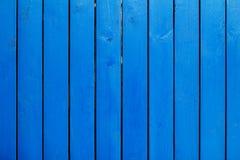 Blå wood vägg Arkivfoto