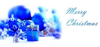 Blå xmas-garnering royaltyfri fotografi