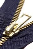 blå zipper Fotografering för Bildbyråer