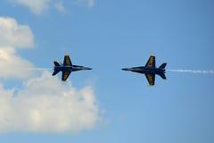 Blåa änglar på den stora New England flygshowen Arkivfoto