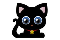 Blåa ögon för rolig tecknad filmkontur för svart katt Royaltyfri Bild