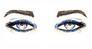 Blåa ögon med makeup, blåa ögonskuggor, mascara, bruna ögonbryn, hand målad vattenfärgmodeillustration som isoleras på vit royaltyfri illustrationer