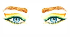 Blåa ögon med makeup, apelsinen och gräsplanvingen formar ögonskuggor, mascara, bruna ögonbryn stock illustrationer
