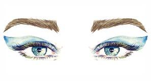 Blåa ögon med makeup, blåa mjuka vingformögonskuggor, mascara, bruna ögonbryn vektor illustrationer