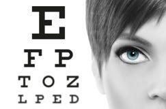 Blåa ögon stänger sig upp på visuell provdiagram, synförmåga och ögonexamin royaltyfri fotografi