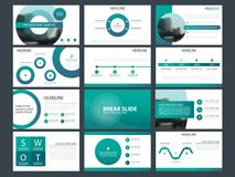 Blåa abstrakta presentationsmallar, uppsättning för design för lägenhet för Infographic beståndsdelmall för broschyr för årsrappo royaltyfri illustrationer