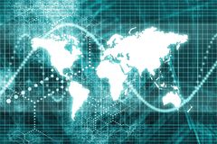 blåa affärskommunikationer över hela världen Royaltyfri Foto