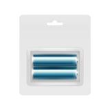 Blåa alkaliska motorförbundetbatterier i blåsan för att brännmärka Fotografering för Bildbyråer