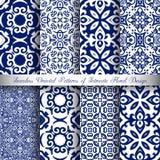 Blåa Arabesquemodeller Royaltyfri Foto