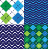 Blåa Argyle Seamless Designs Arkivbild