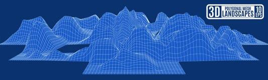Blåa berg för abstraktionkorsfrämling stock illustrationer