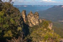 Blåa berg, NSW Australien - tre systrar royaltyfri fotografi