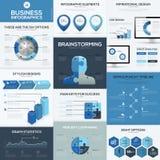 Blåa beståndsdelar och mallar för affärsinfographicsvektor Royaltyfri Bild