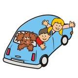 Blåa bil och ungar Fotografering för Bildbyråer